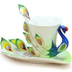 Very unique and beautiful peacock tea cup
