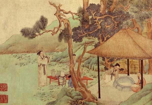 This art depicts scholars meeting at a tea ceremony in the Ming Dynasty.